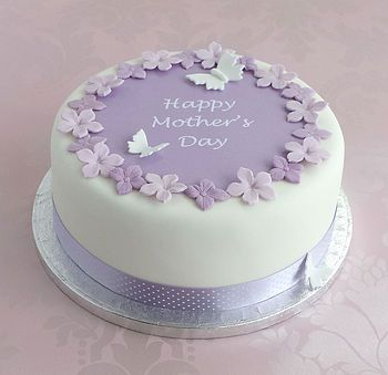 Mothers Day Cake With Mauve Polka Dot Ribbon