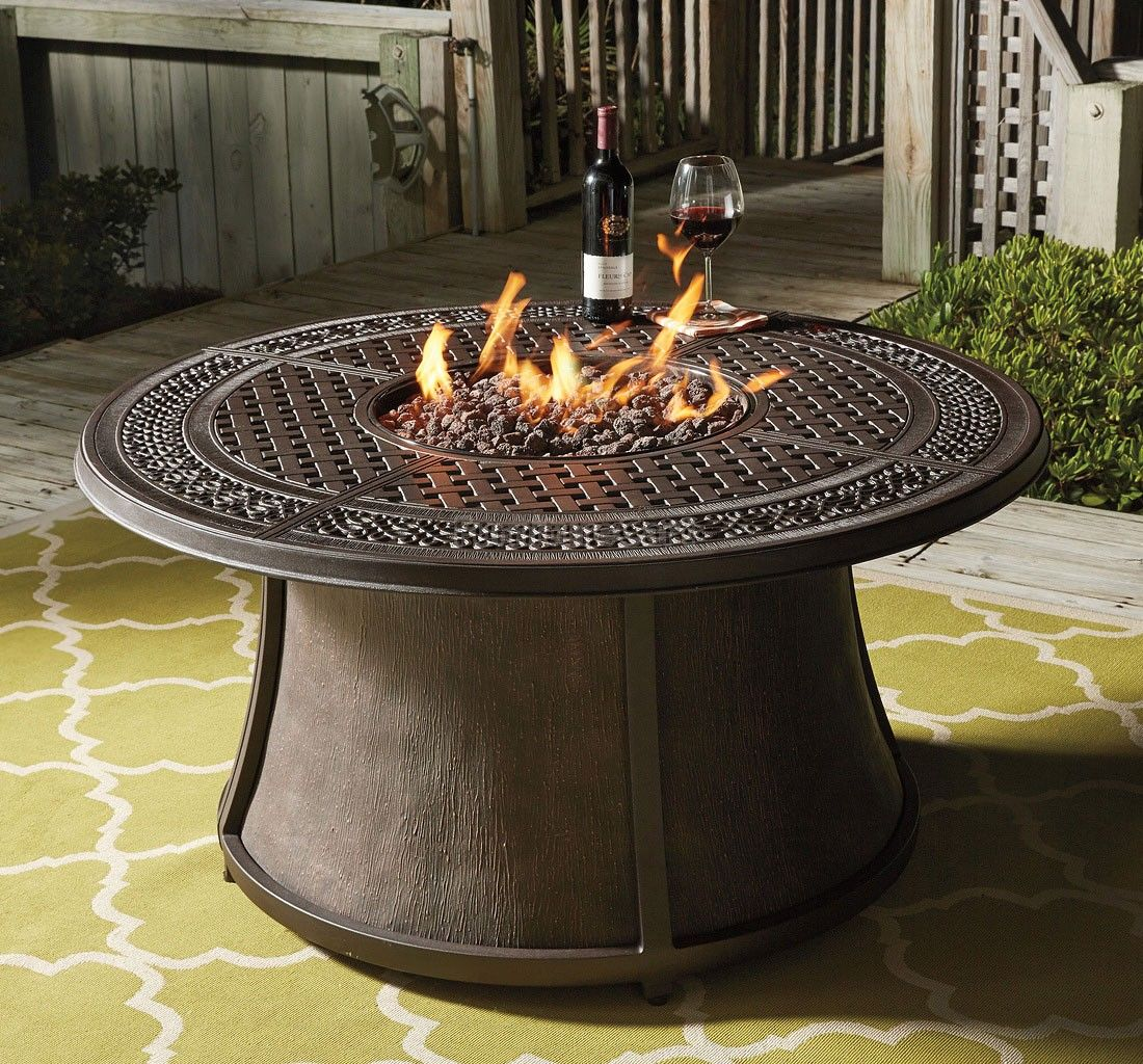 Burnella Round Fire Pit Table Round Fire Pit Table Gas Firepit