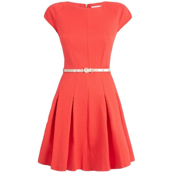 Almari Waffle Sleeve Dress, Coral featuring polyvore, women's fashion, clothing, dresses, vestidos, short dresses, kleider, long-sleeve mini dress, fit flare dress, fitted maxi dress and red midi dress