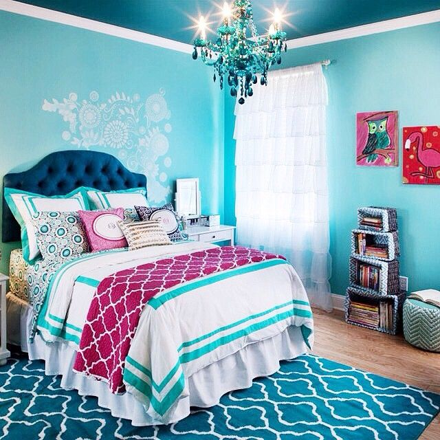 super cute girls bedroom // love the navy and the turquoise ...