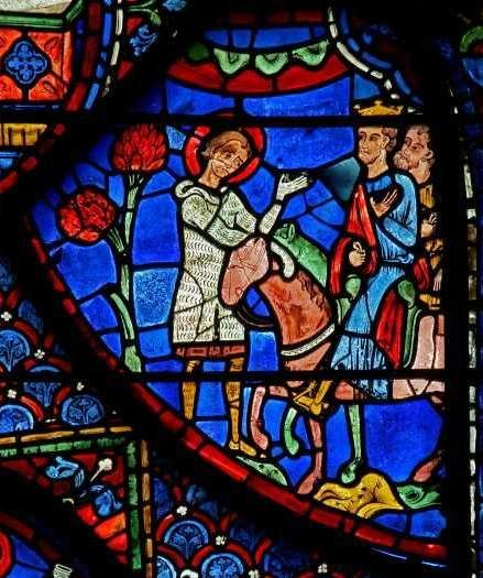 Chartres Cathedral window w. 7, Panel 21 Charlemagne hears of Roland's death