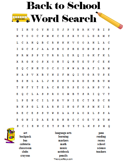 picture regarding School Word Search Printable known as Back again in direction of Higher education Term Appear The Perfect of Joys of Boys Back again