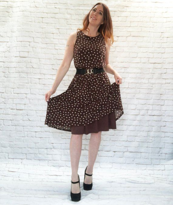 afd0fdbc838 Vintage 90s Iconic Pretty Woman Polka Dot Dress M L Brown White Midi ...