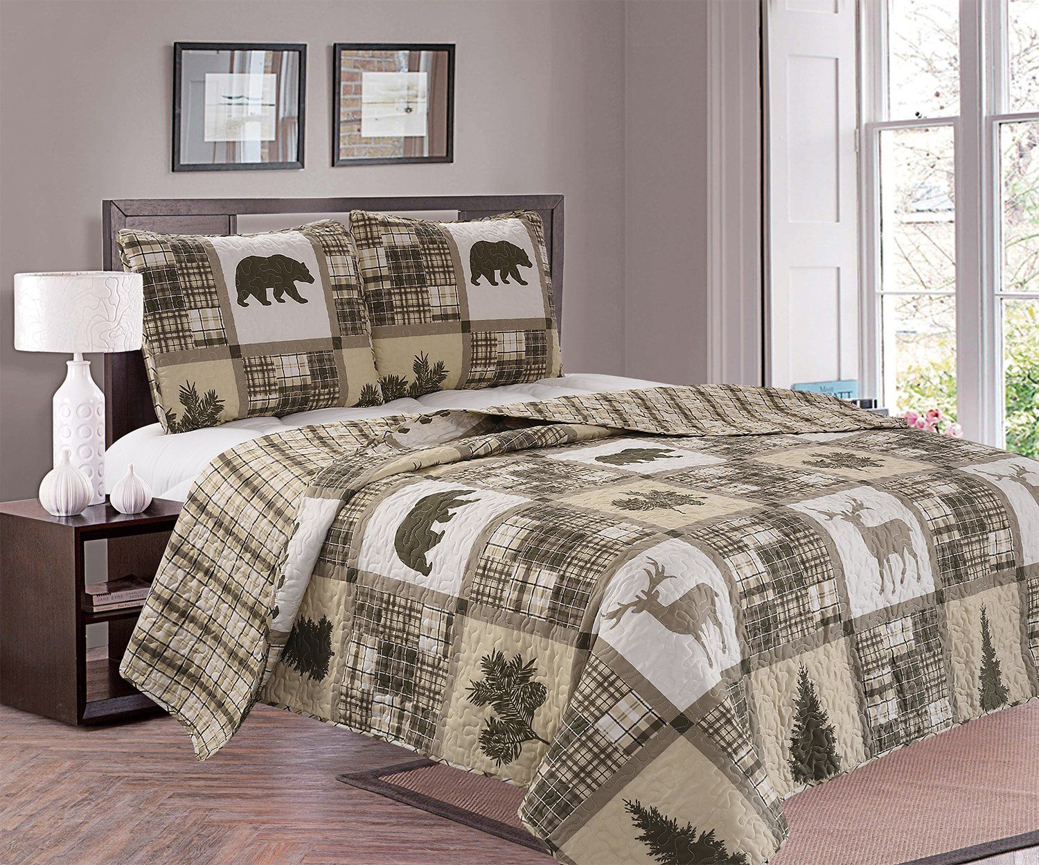 Great Bay Home 3piece Lodge Quilt Set With Shams Durable Cabin Bedspread And Shams With Rustic Printed Pattern Stonehurst Co Coverlet Bedding Home Quilt Sets
