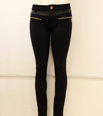 #legging #negro con #vinil y #cierres #dorados