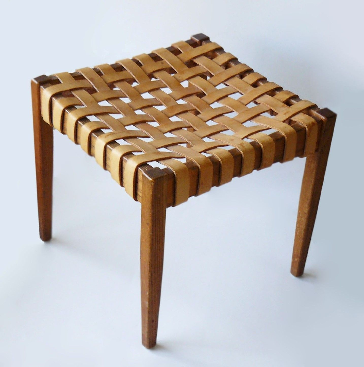 Mid-Century 1950's Danish Woven Leather & Wood Stool Tapered Legs