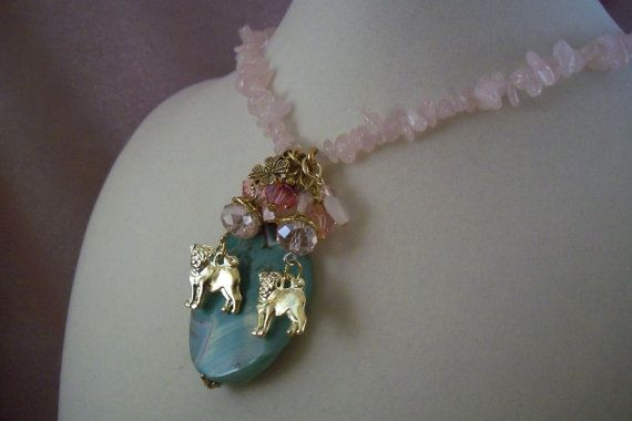 PUG  ag11  Necklace   Charm Necklace  Holiday by HOBBYHORSELADY, $34.90