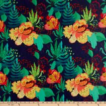 Pine Crest Repreve Virtue Recycled Polyester Vibrant Flowers Navy/Green Multi from @fabricdotcom Repreve%C2%AE%20Recycled%20Polyester%20Spandex%20Tricot%20Knit%20fabric%20is%20perfect%20for%20performance%20wear.%20Repreve%C2%AE%20is%20one%20of%20the%20most%20certified%2C%20earth-friendly%20fibers%20available%20in%20the%20world.%20High-quality%2C%20recycled%20polyester%20yarns%20are%20made%20from%20100%25%20recyclable%20materials.%20This%20knit%20fabric%20features%2050%25%20four-way%20stretch%20
