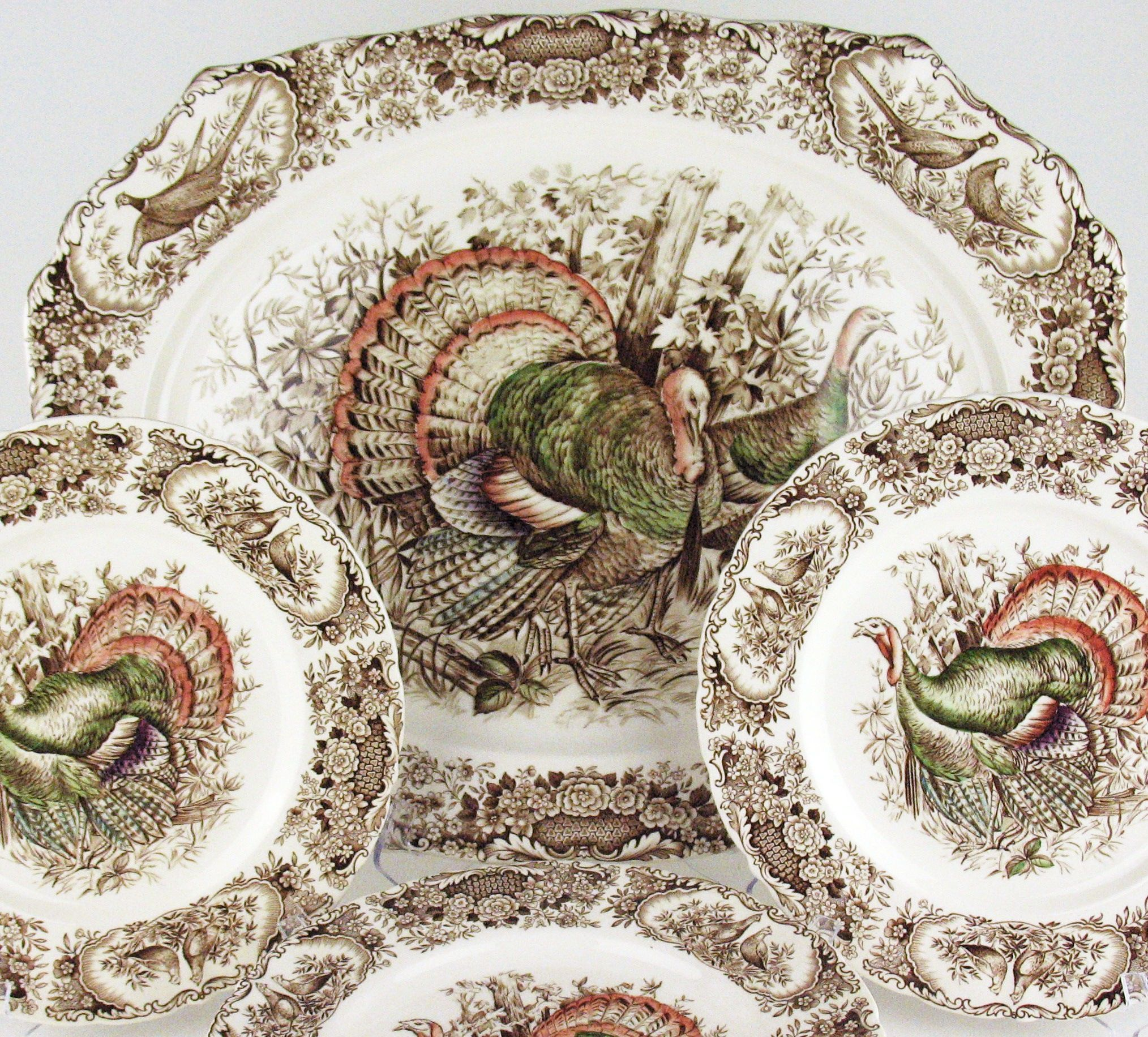 Vintage Johnson Bros Wild Turkey Pattern. Shown is a 20.5  platter and dinner plates.  sc 1 st  Pinterest & Vintage Johnson Bros Wild Turkeys China Platter and Dinner Plates ...