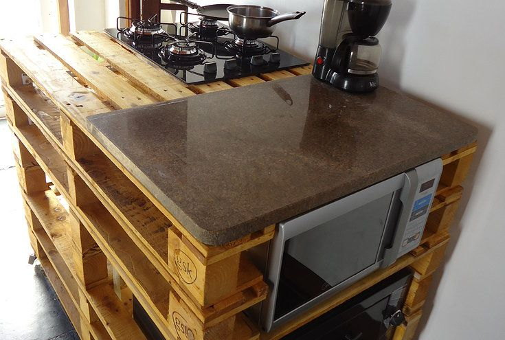 Mini Cozinha Feita Com Pallets Reciclados Com Cooktop Microondas