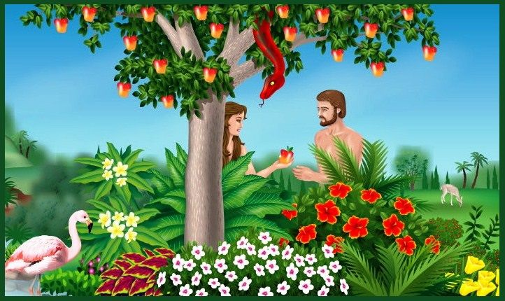 The Garden of Eden and Adam and Eve Eating the Forbidden