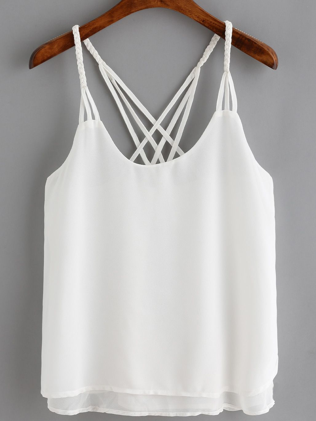 9d69a79d00 Shop White Spaghetti Strap Loose Cami Top online. SheIn offers White  Spaghetti Strap Loose Cami Top & more to fit your fashionable needs.