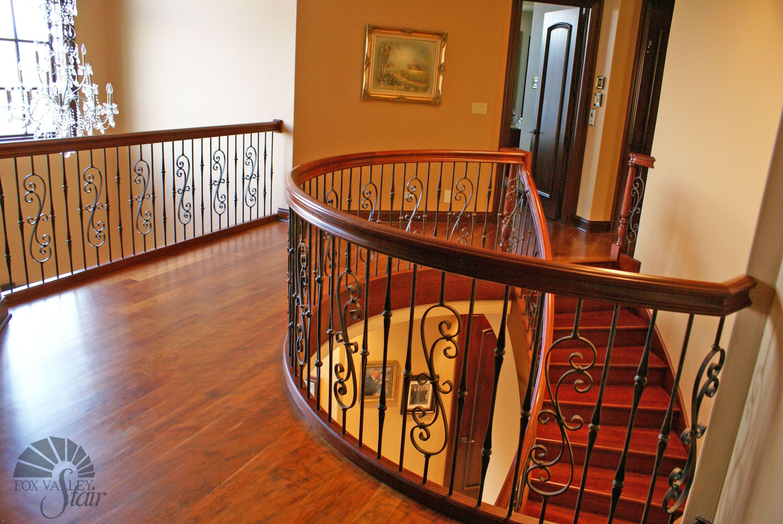 Best Upper Level Landing Brazilian Cherry Floating Staircase 400 x 300
