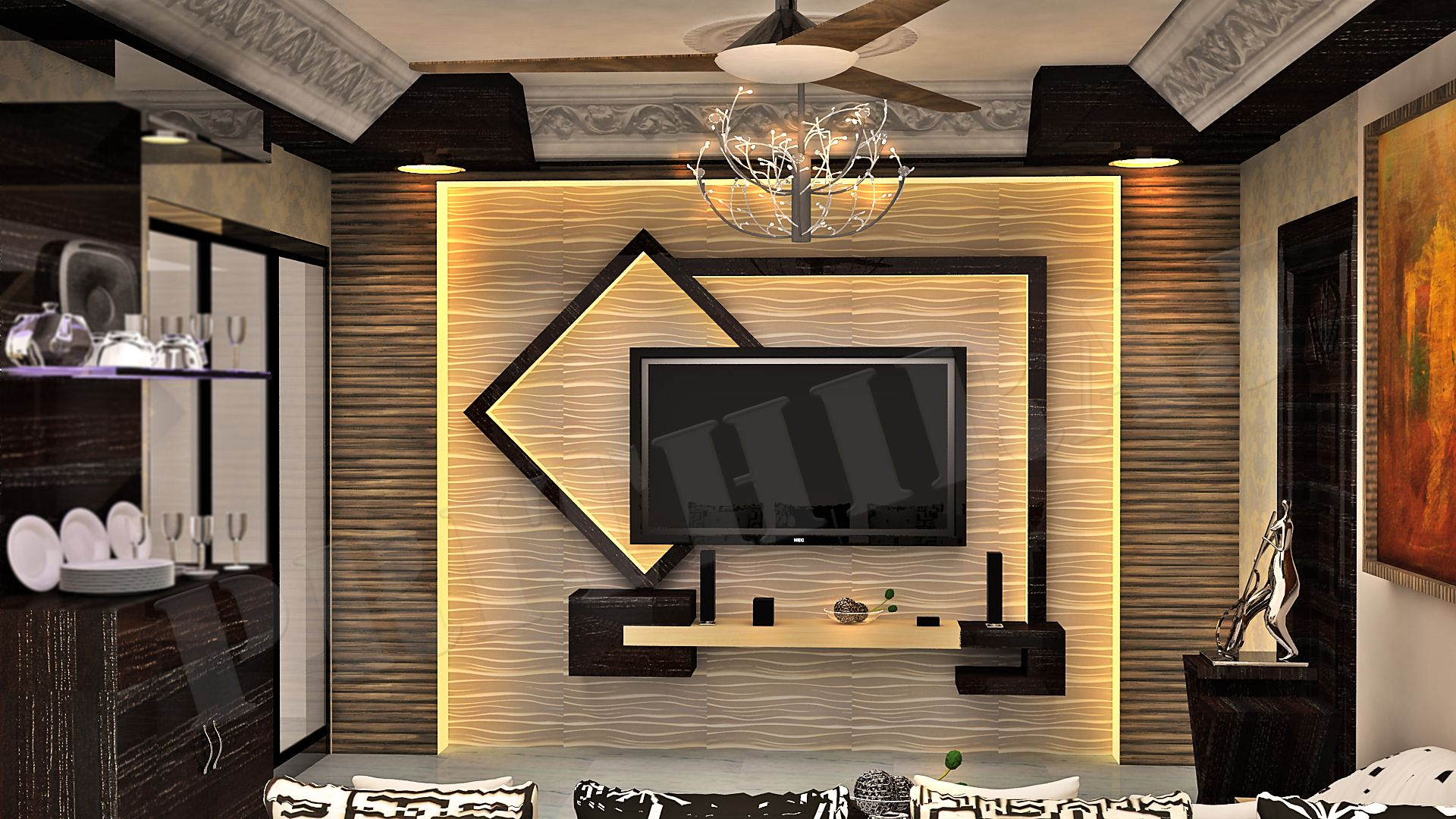 Pin by Prithiraj Paladhy on My designs  Tv room design, Lcd wall