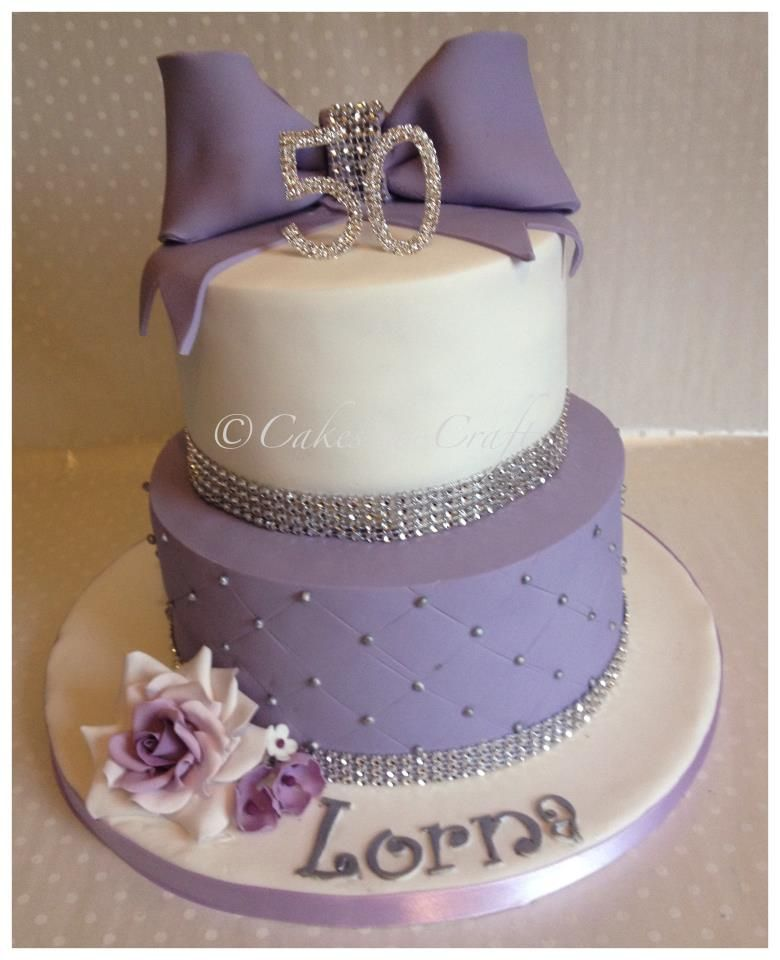 Astounding 2 Tier Lilac And Silver Cake With Diamante Banding And Sugar Rose Funny Birthday Cards Online Ioscodamsfinfo