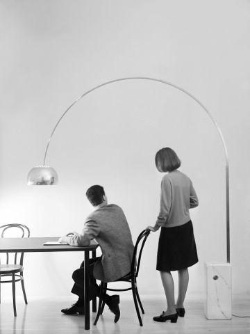 London Visual arts: Arco lamp, design Achille and Pier Giacomo Castiglioni, 1962.  Manufactured by Flos © Università IUAV di Venezia - Archi...