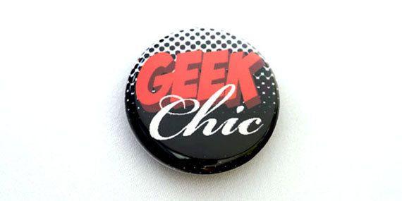 Geek Chic One Inch Pinback Button Magnet or by HoneydewStudio