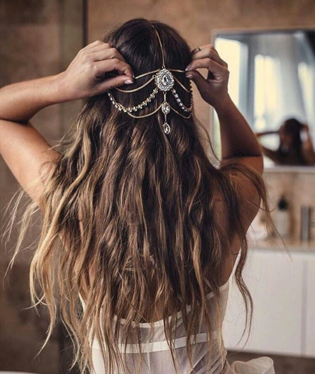 Wedding Hairstyles Boho: » Boho Bride » Floral Crowns » Long Waves » Feather