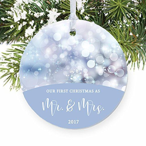 Our First Christmas As Mr Mrs Ornament 2017 Blue Twinkling Lights Wedding Present For Bride And Groom Newlyw Baby First Christmas Ornament Twinkle Lights Wedding First Christmas Ornament