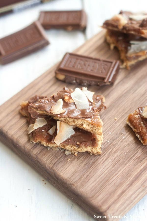 Graham Cracker Toffee with almonds, chocolate and toasted coconut! Easiest holiday treat to make!  #sharedgoodness #spon