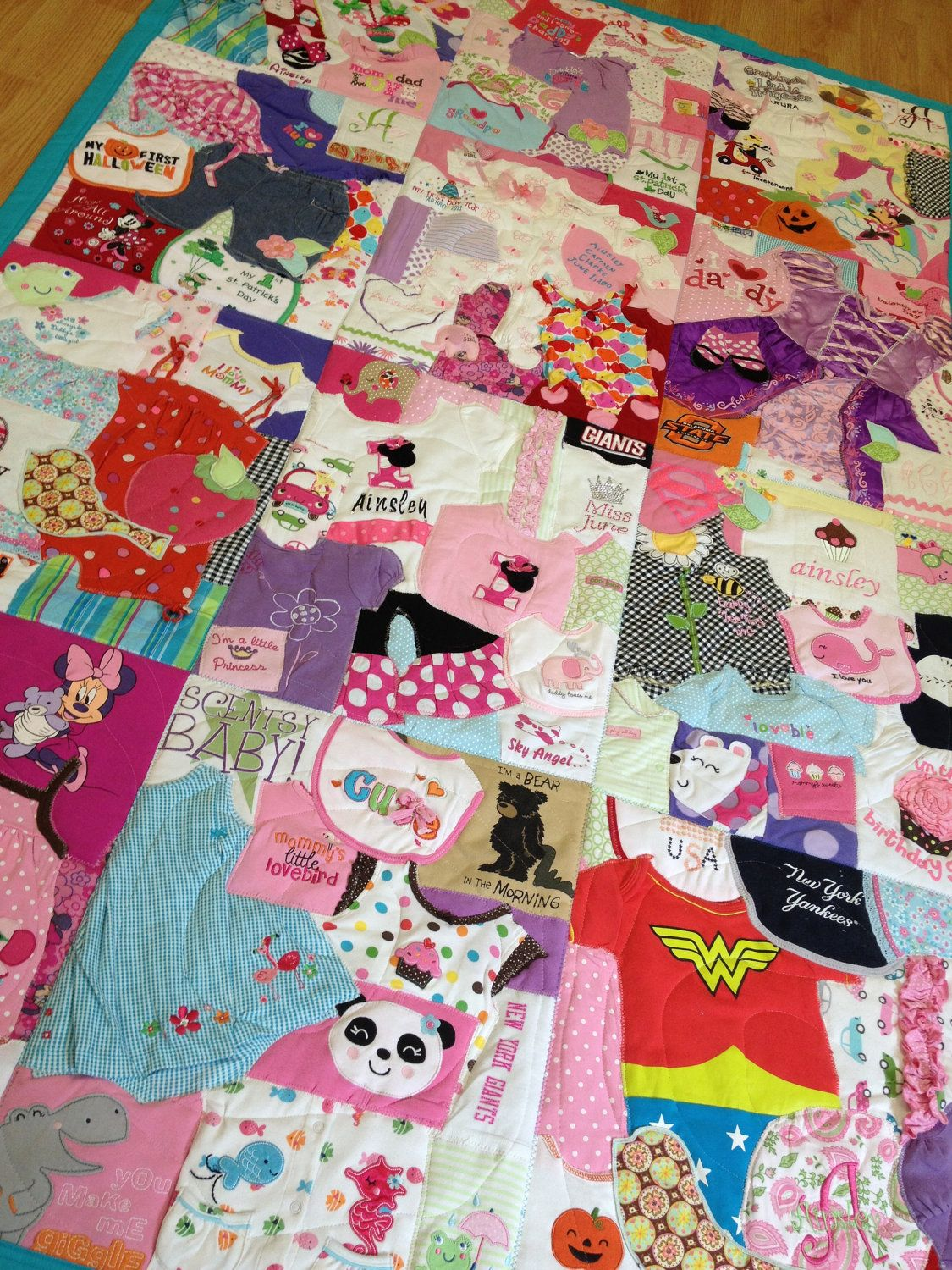 """Memory Quilt Custom Made with Baby Clothes """"1st Year Quilt"""" Must do this with some of Mollys clothes...and the same for Maddi with her tshirts!"""