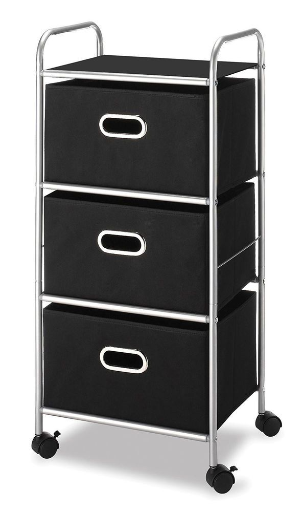 Portable Drawer Organizer Cart Closet Extra Storage Space Wheels Black Doesnotapply Contemporary Whitmor Storage Drawers Office Storage