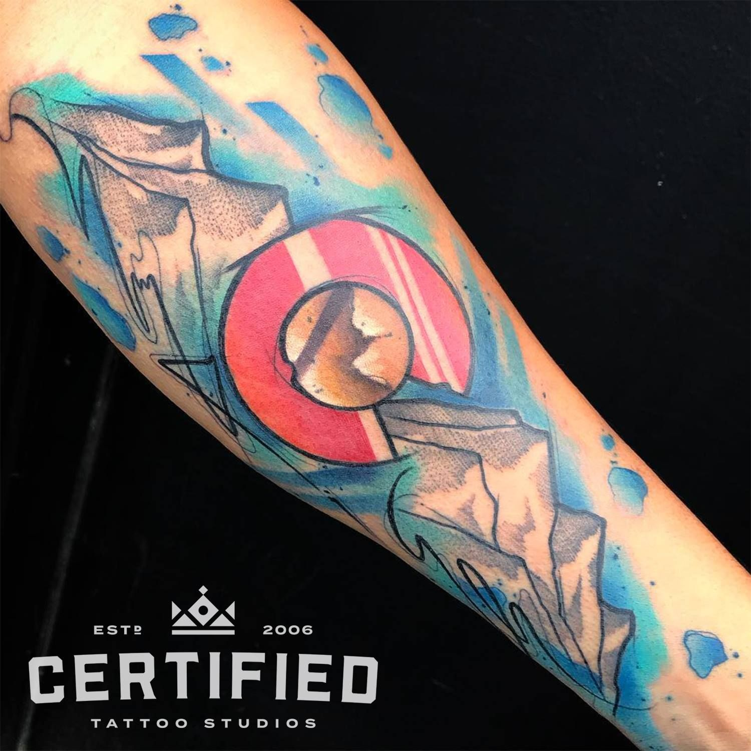 Watercolor Colorado Flag Tattoo By Skyler Espinoza At Certified