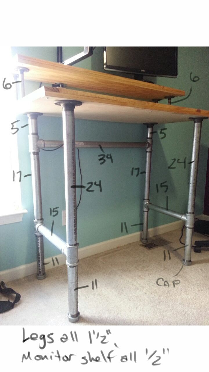 Diy standing desk plans - Pipe And Plank Standing Desk