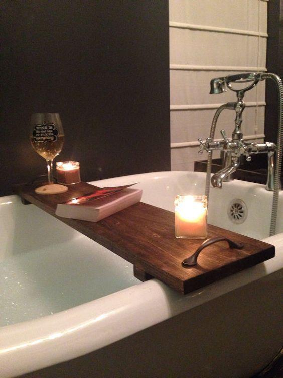 Rustic Bathtub Caddy Bath Tray Poplar Wood With Handles Clawfoot Badewannentablett Diy Badmobel Badezimmerideen