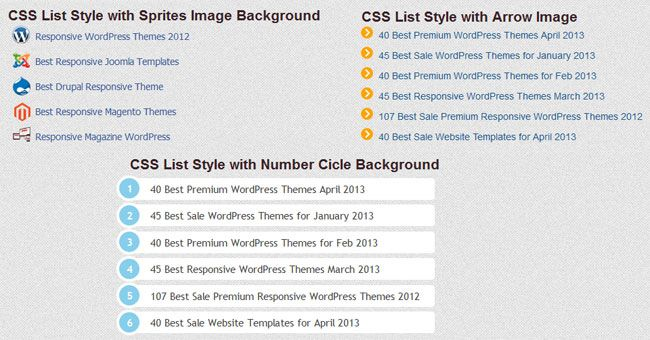USEFUL CSS LIST STYLE TUTORIAL AND EXAMPLE css3 Pinterest - sample list