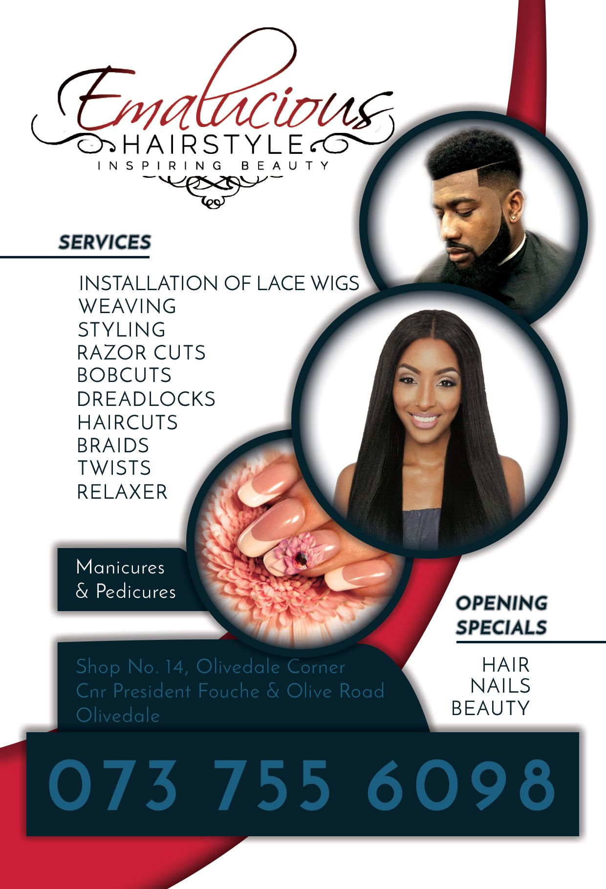 flyer design of an african hair and beauty salon. designed