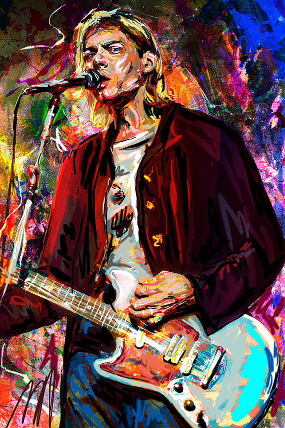 Kurt Cobain Art, Nirvana Original, Cobain Painting Art Print
