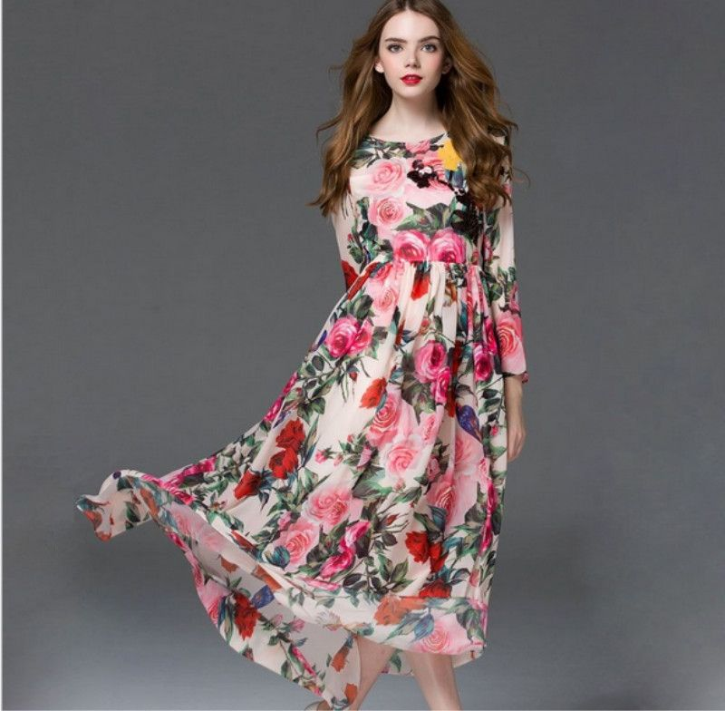 b6b6fe17d34 3 Colors women summer long sleeve dress Spring 2017 Fashion Print Maxi  Dress Women Casual Elegant Floral Long Dresses
