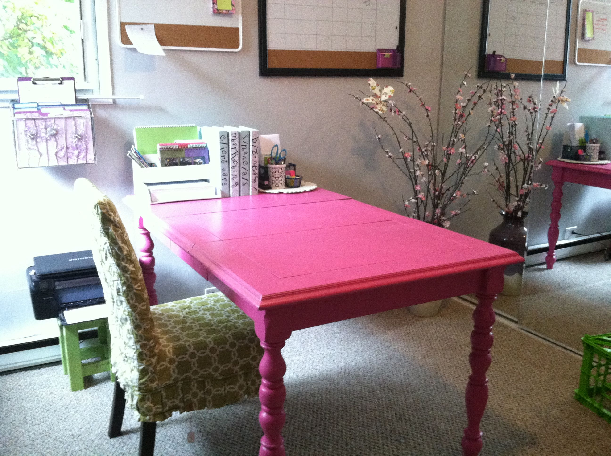 Feminine Desk For Home Office...up Cycled Table. Chair Cover From Pier  Binders From Martha Stewart Collection At Staples.