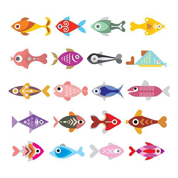 Fish vector icon set by dan on Creative Market