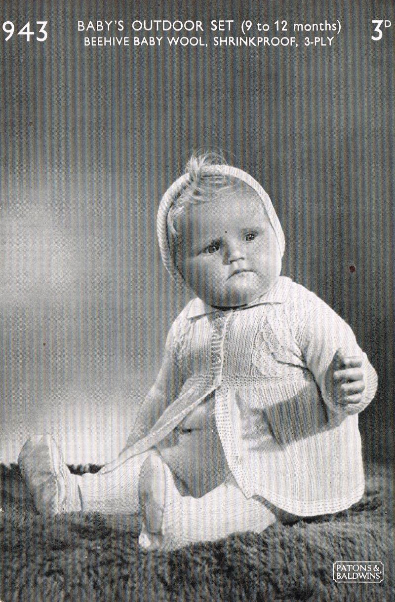 Patons 943 vintage baby knitting pattern https://www.facebook.com ...