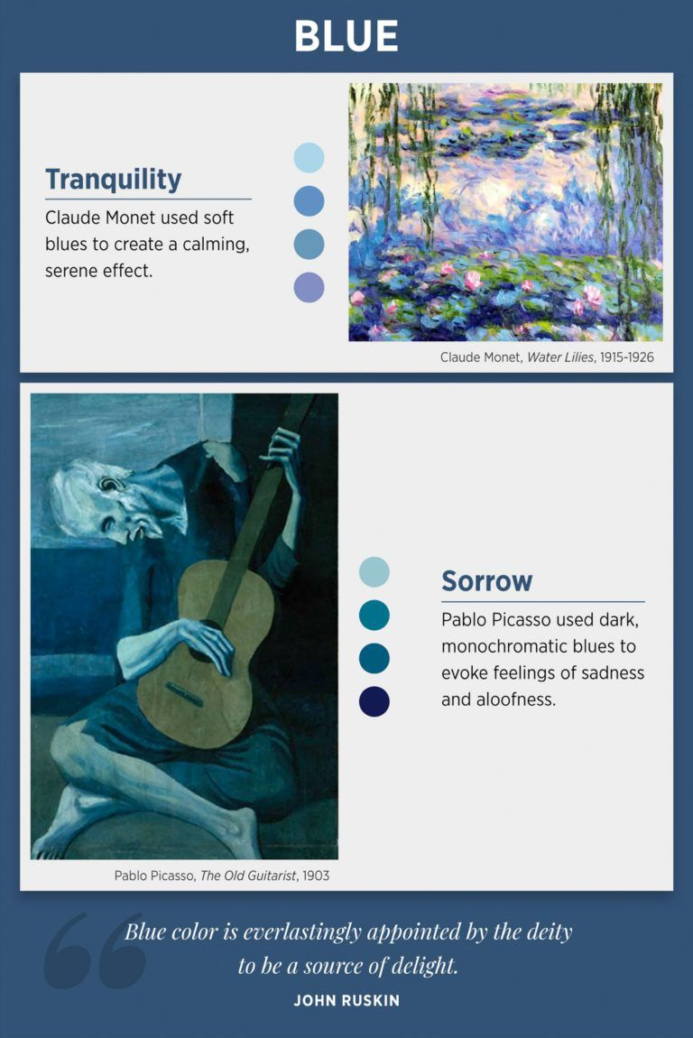 Colours And Emotions Meaning Examples Of Famous Artists That Use Colour Colors And Emotions Color Meanings Blue Color Meaning