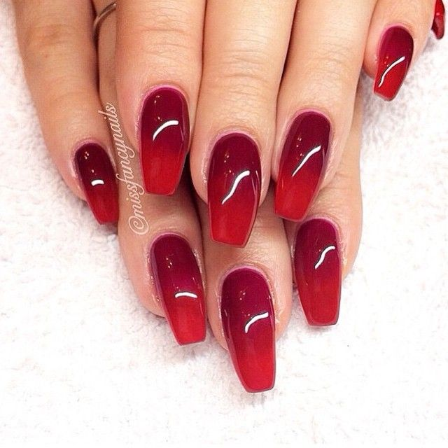 Red Gradient Coffin Nails Red Gel Nails Red Acrylic Nails Nails