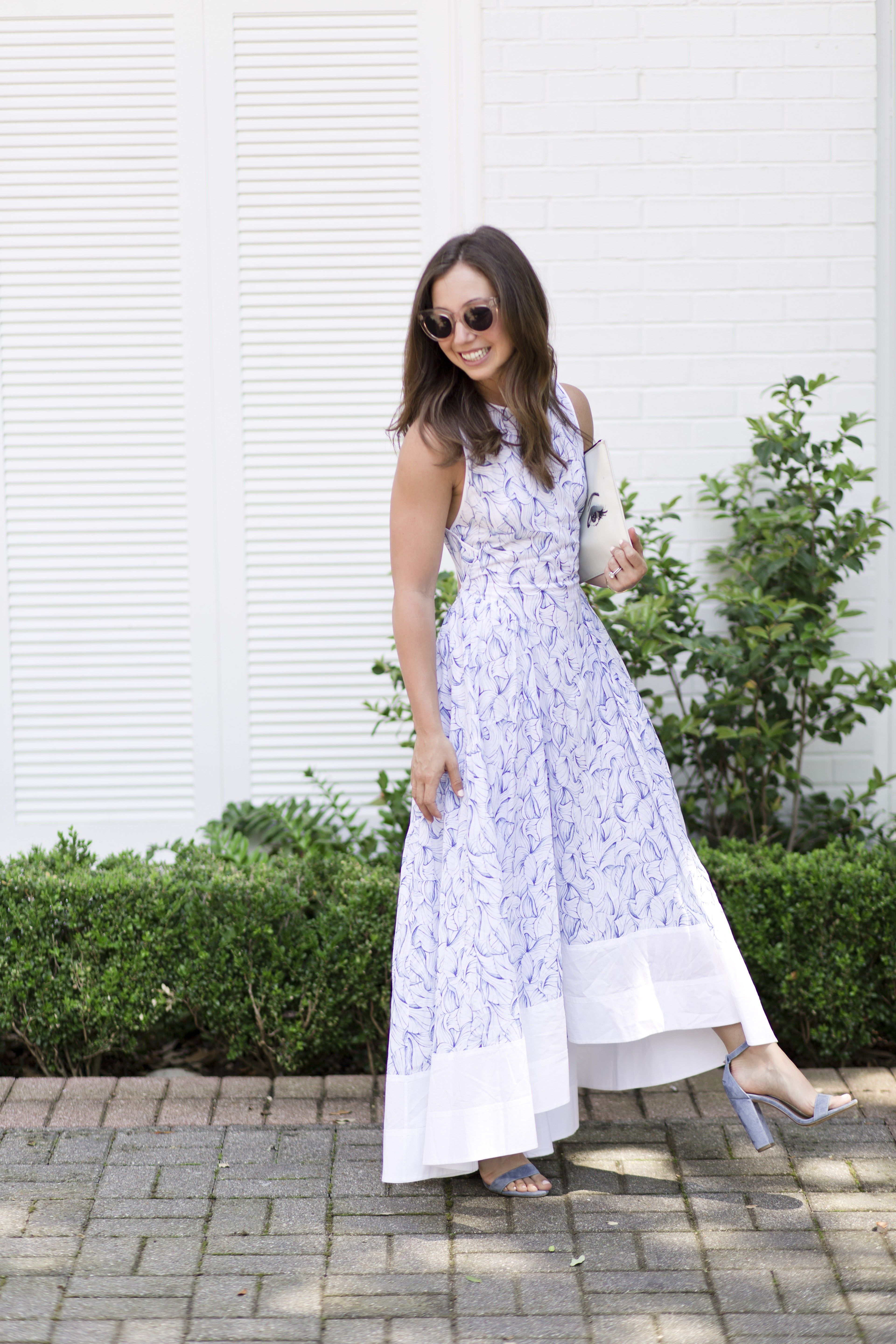 Spring wedding guest with rent the runway celine and spring