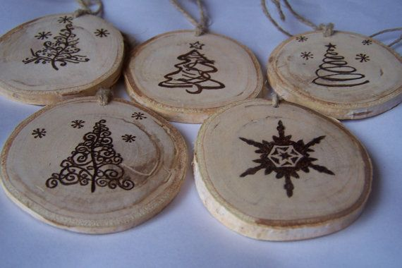 Five Wood Burned Christmas Tree Ornaments,Tree Slice Ornaments, Rustic Wood Ornaments