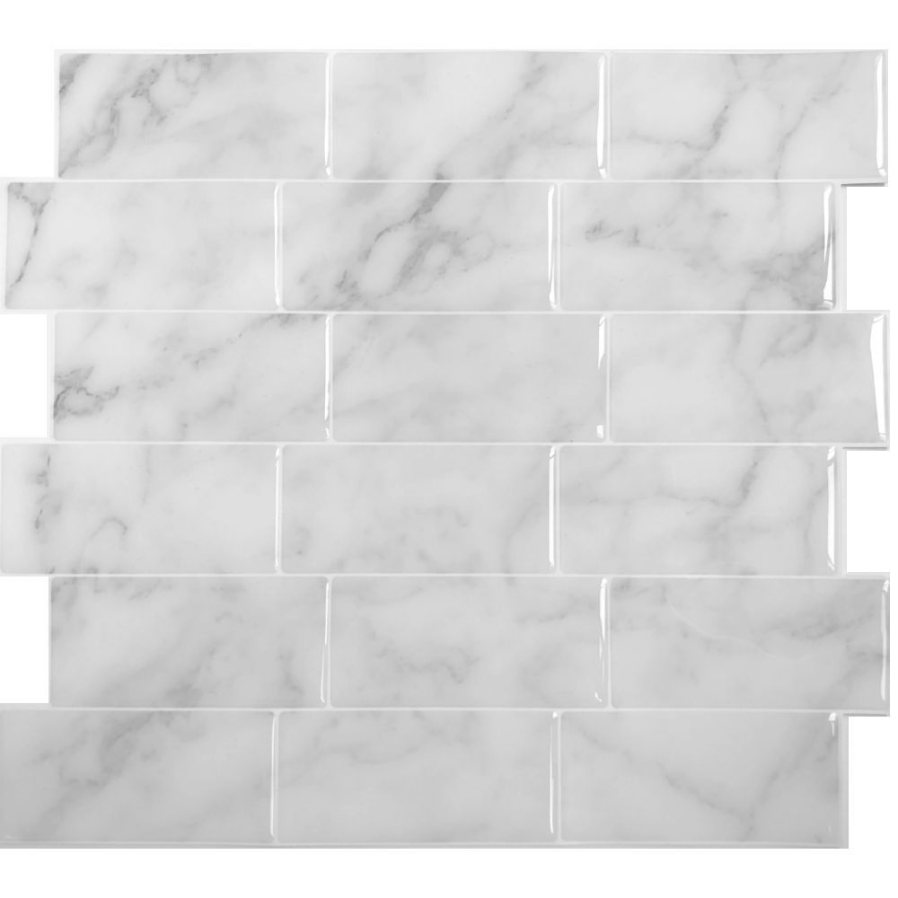 3dwalltiles Peel Stick Backsplash Wall Tiles In Carrara Marble Subway 4 Sheets Easy Self Adhesive S Backsplash Kitchen Wall Tiles Marble Backsplash Kitchen