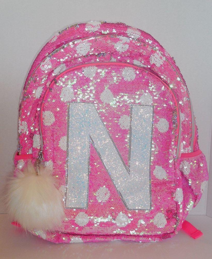 febb3cf8ba9d Girls JUSTICE Flip Sequins Backpack Bookbag Initial N Pink White ...
