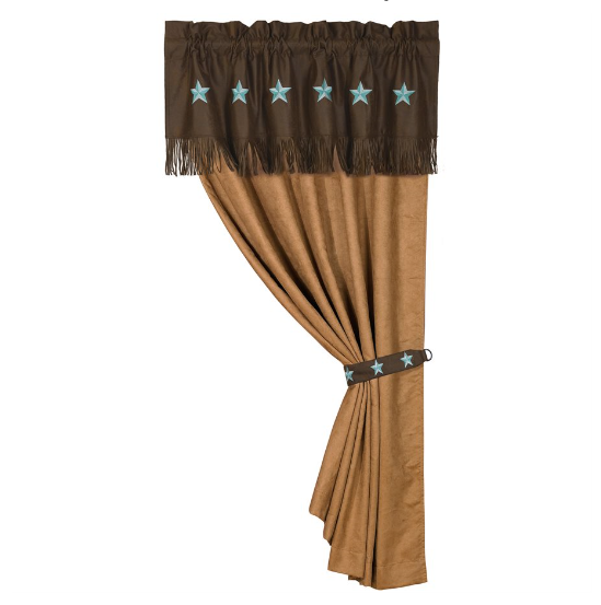 Single Tan Faux Suede Curtain With Attached Chocolate Faux Leather