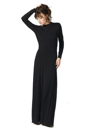 Maxi dress black long sleeve