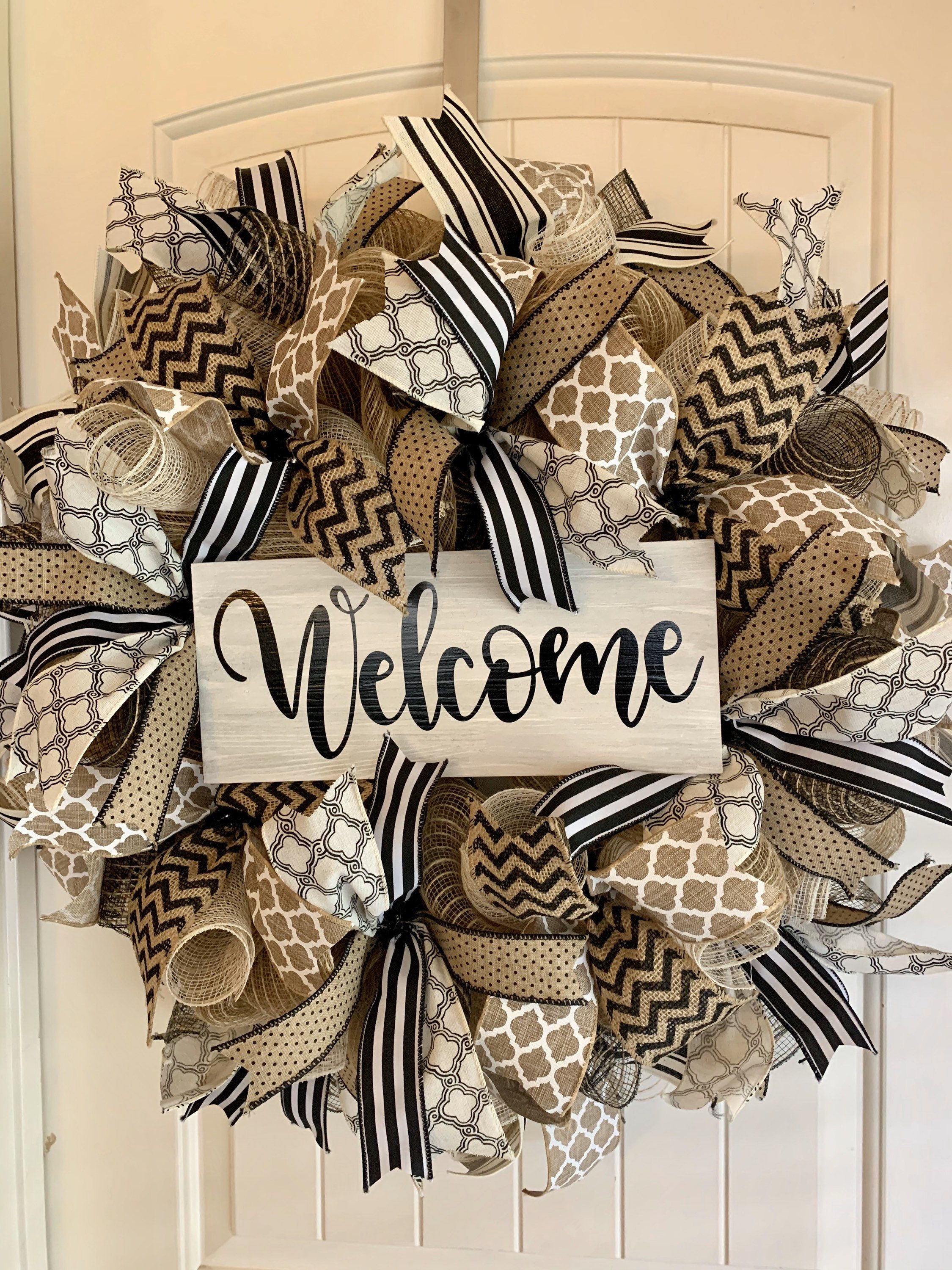 Photo of Black and white burlap farmhouse welcome front door wreath
