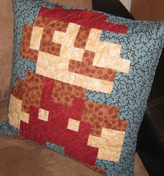 Mario Quilted Pillow Cover. $42.00, via Etsy.
