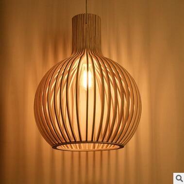 Moderne led houten hanglampen minimalistische kooi houten creatieve ...