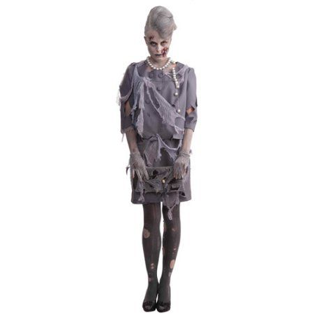 Zombie Woman Adult Halloween Costume , One Size, Gray