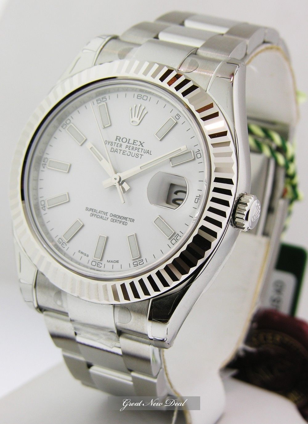 119b9407af5 New Rolex Datejust II 41mm Large Mens White Stick Dial Steel 116334 WIO |  eBay