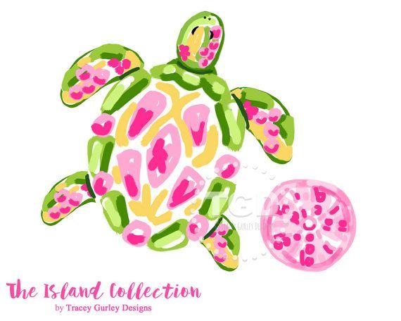 Preppy Sea Turtle Clip Art Preppy Pink Sea Urchin Clip Art Etsy Clip Art Downloadable Art Preppy Prints